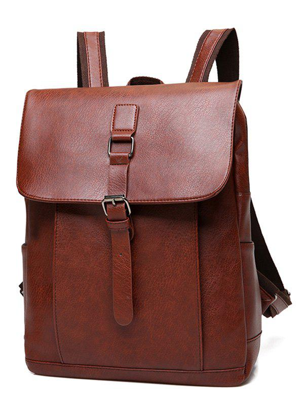 Buckle Strap Faux Leather Backpack - LIGHT BROWN