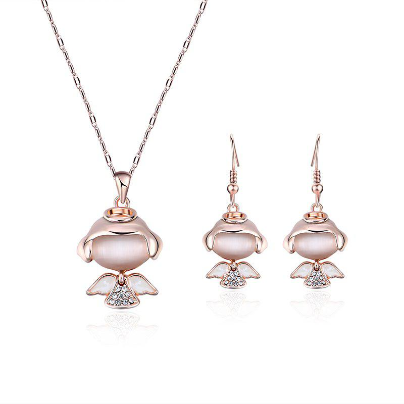 Fake Diamond Little Angle Pendant Necklace with Earrings - GOLDEN