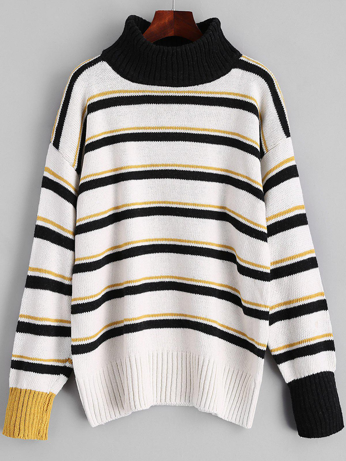 Turtleneck Stripes Pullover Sweater - BLACK ONE SIZE