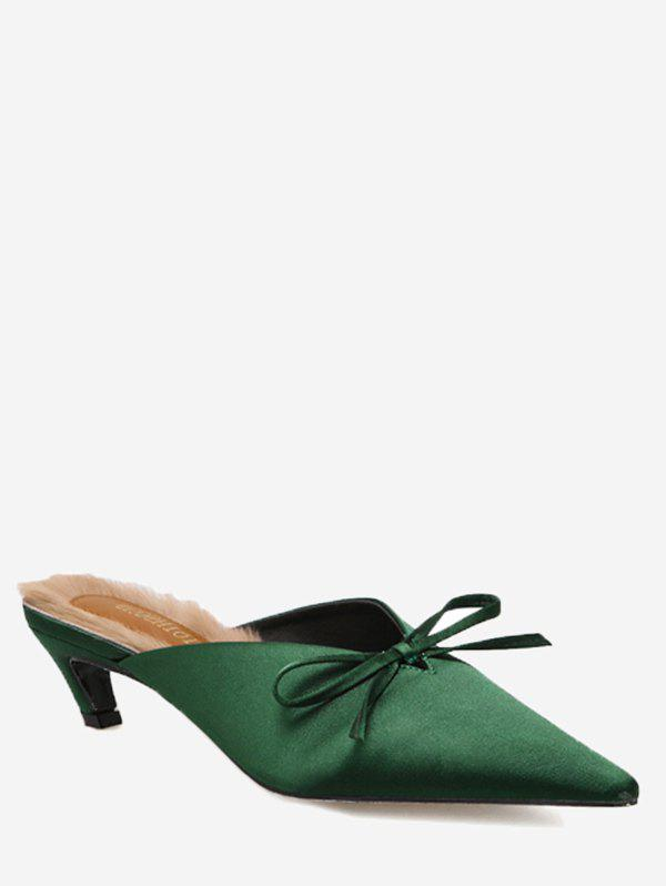 Cone Heel Bowknot Faux-fur Lined Mules Shoes - GREEN 39