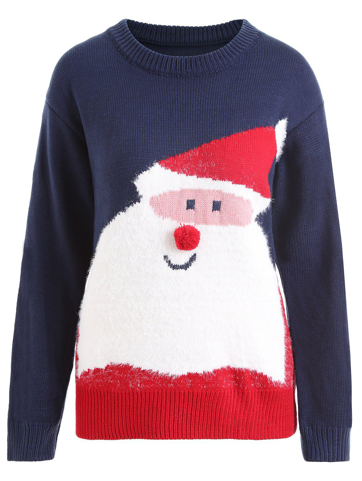 Plus Size Pom Christmas Santa Claus Sweater - PURPLISH BLUE ONE SIZE