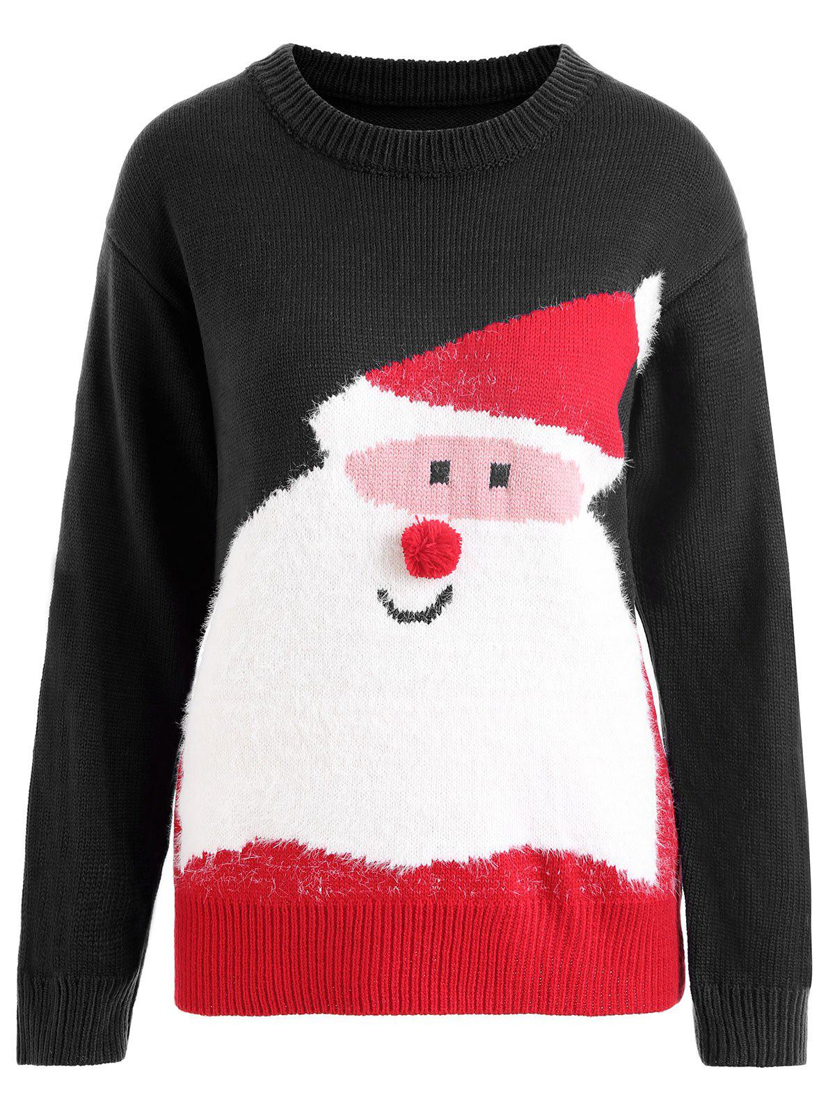 Plus Size Pom Christmas Santa Claus Sweater - BLACK ONE SIZE