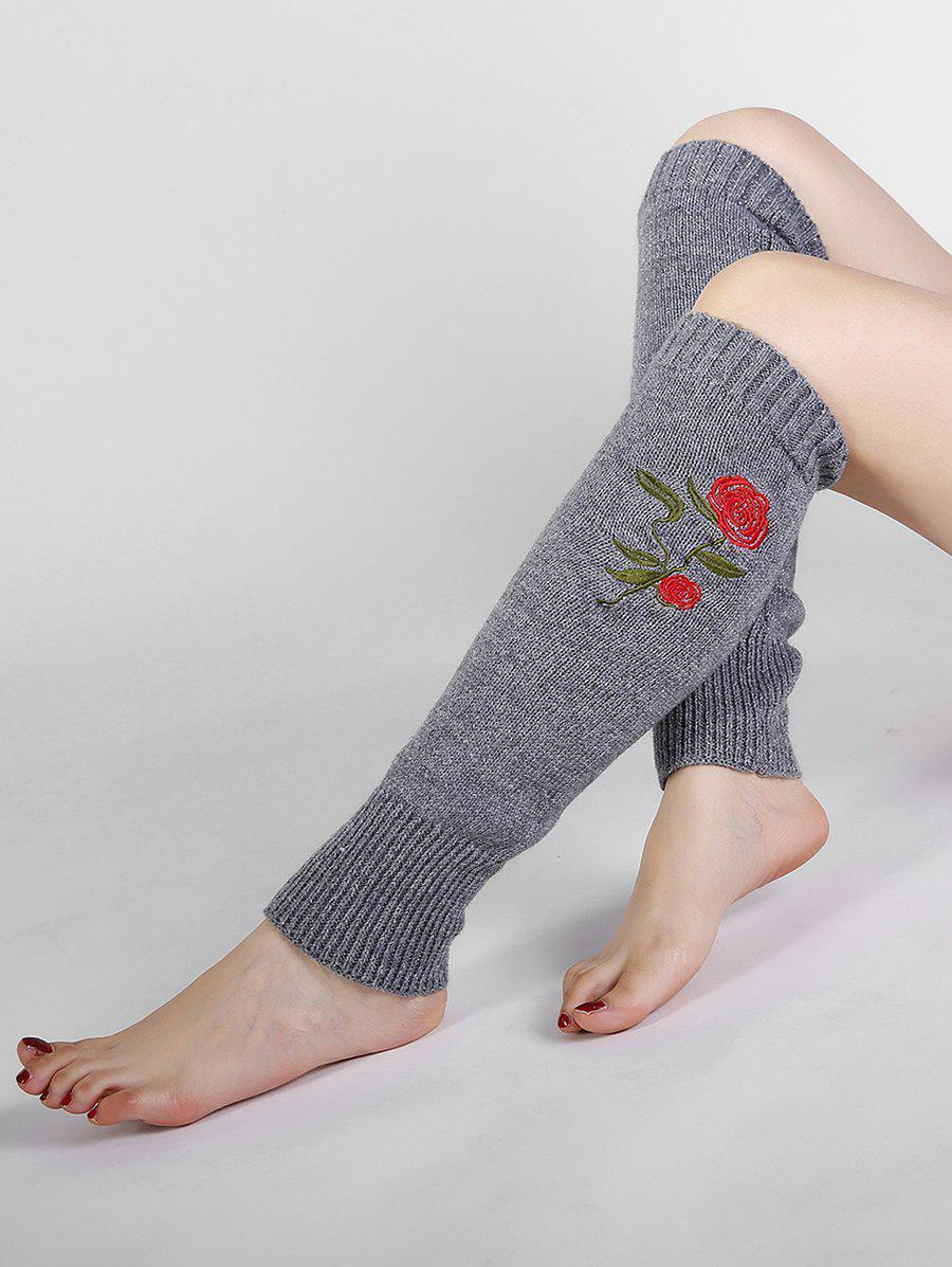 Rose Embroidery Color Splice Crochet  Knitted Leg Warmers - LIGHT GRAY