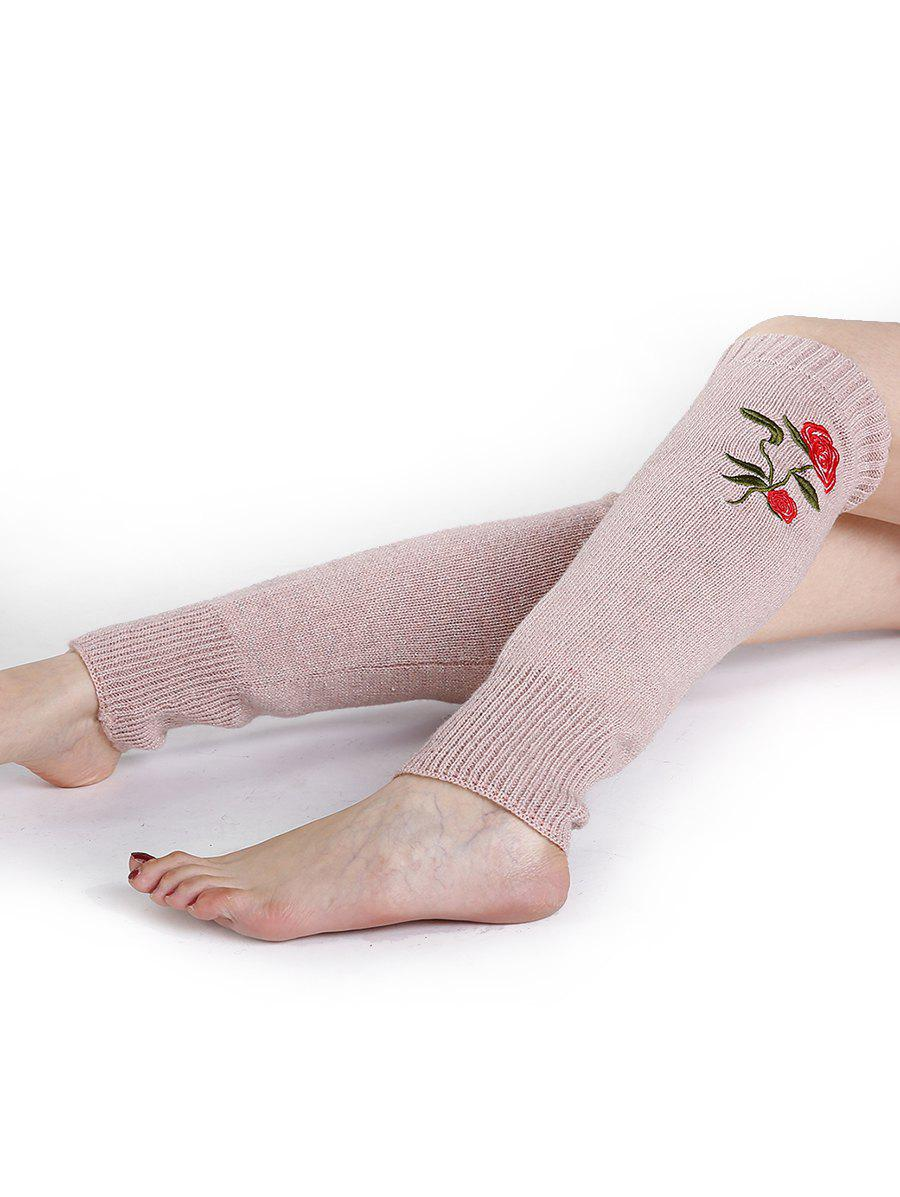 Rose Embroidery Color Splice Crochet  Knitted Leg Warmers - PINK