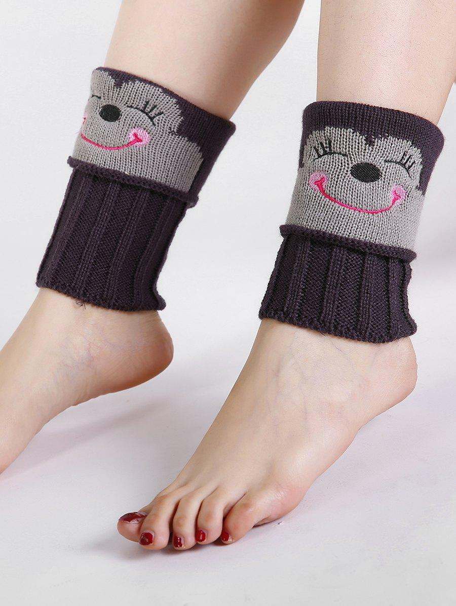 Funny Cartoon Monkey Pattern Decorated Knitted Short Leg Warmers - DEEP GRAY