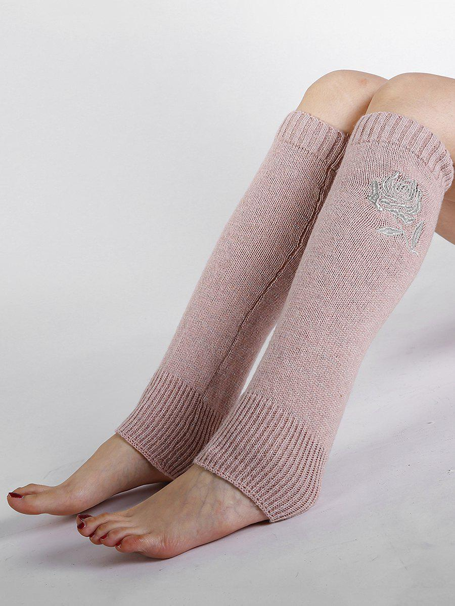 Vintage Rose Embroidery Decorated Knitted Leg Warmers - PEONY PINK