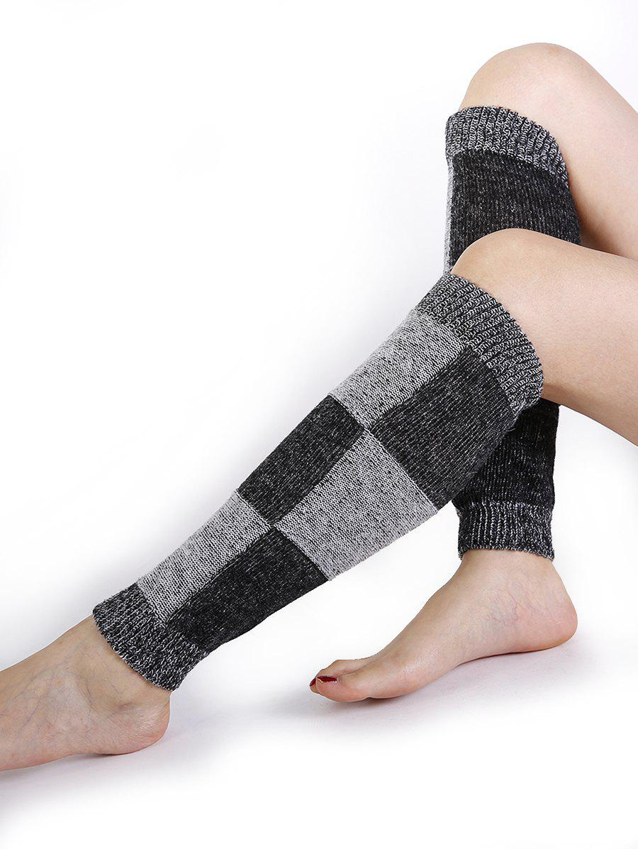 Checkered Pattern Embellished Color Splice Knitted Leg Warmers - GRAY
