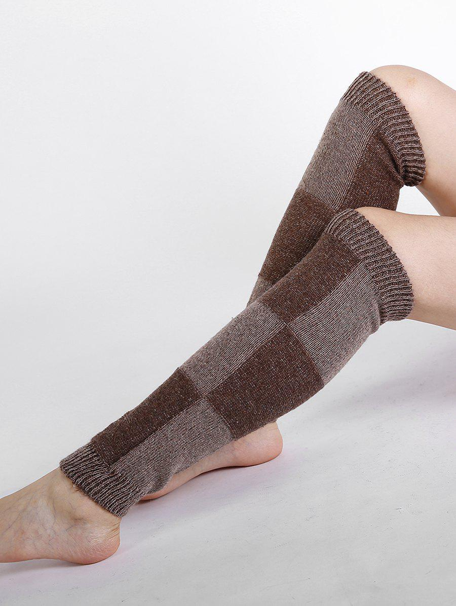 Checkered Pattern Embellished Color Splice Knitted Leg Warmers - COFFEE