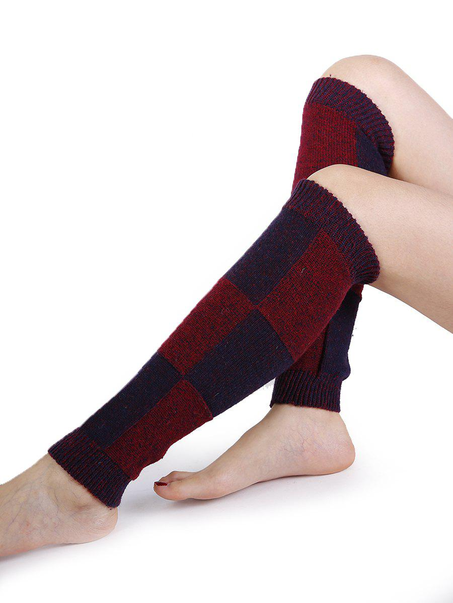 Checkered Pattern Embellished Color Splice Knitted Leg Warmers - WINE RED