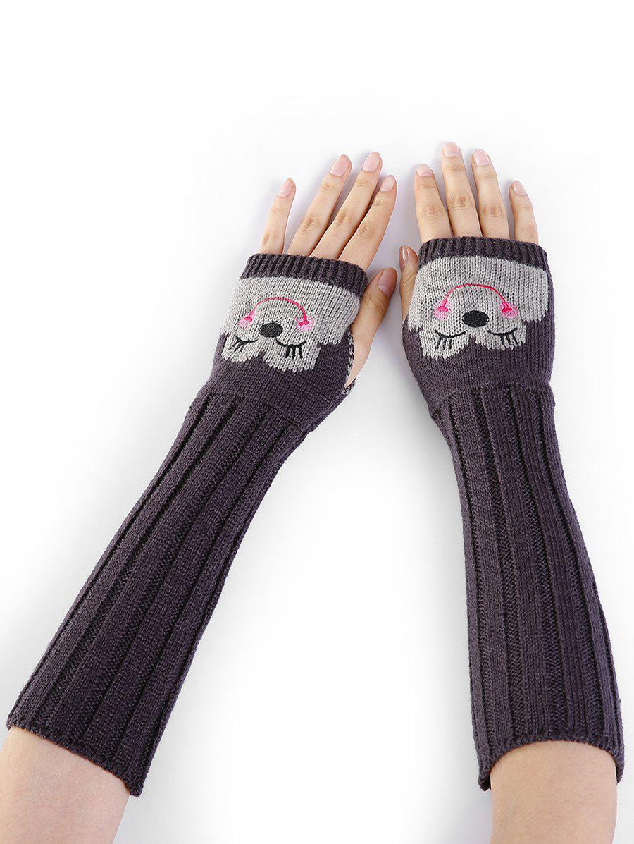Funny Cartoon Pattern Embellished Knitted Fingerless Arm Warmers - DEEP GRAY