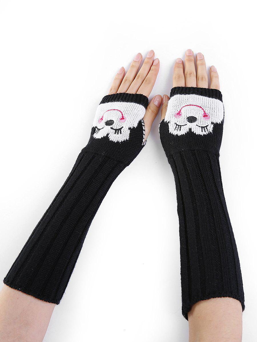 Funny Cartoon Pattern Embellished Knitted Fingerless Arm Warmers - BLACK