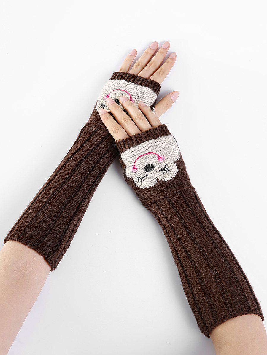 Funny Cartoon Pattern Embellished Knitted Fingerless Arm Warmers - COFFEE