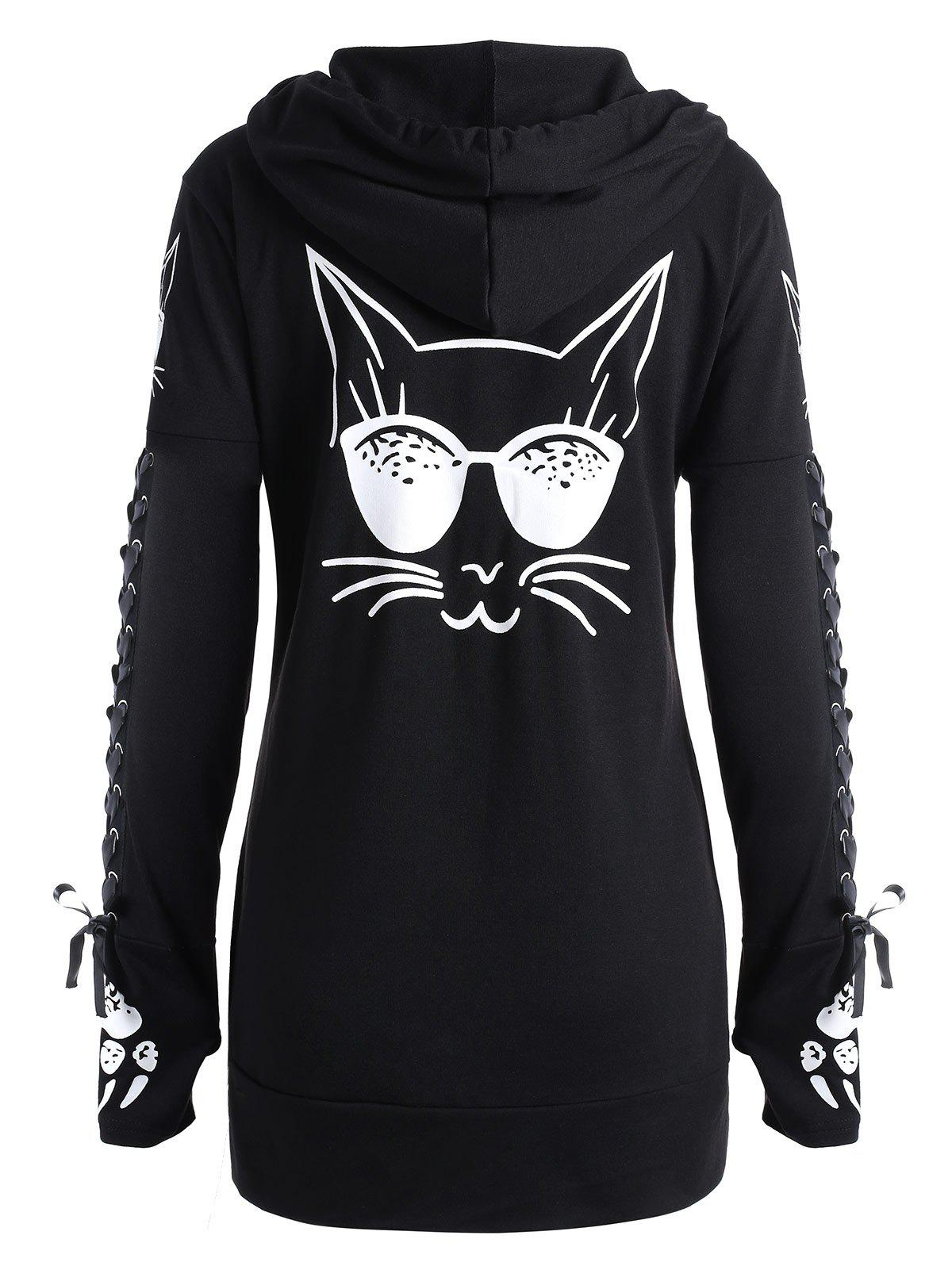 2018 Cat Printed Lace Up Zipper Up Hoodie BLACK XL In Sweatshirts ... 549cf99b5