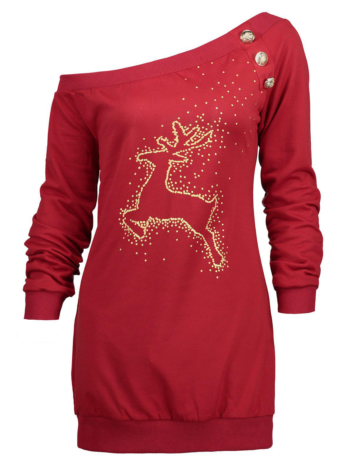 Christmas Reindeer Printed Skew Neck Tunic Sweatshirt - RED M