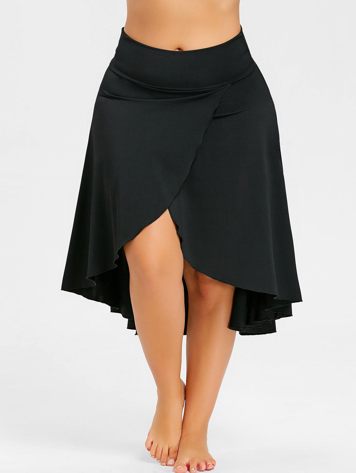 Plus Size Asymmetrical Split High Low Skirt - BLACK 4XL