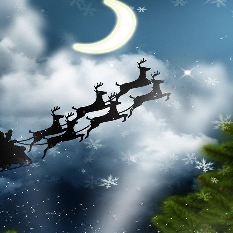 Christmas Elk Flying to the Moon Printed Fabric Table Cloth - BLUE W60 INCH * L84 INCH