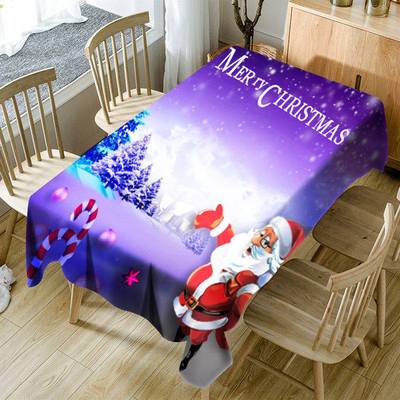 Santa Claus Winter Night Scene Printed Fabric Table Cloth - PURPLE W60 INCH * L84 INCH