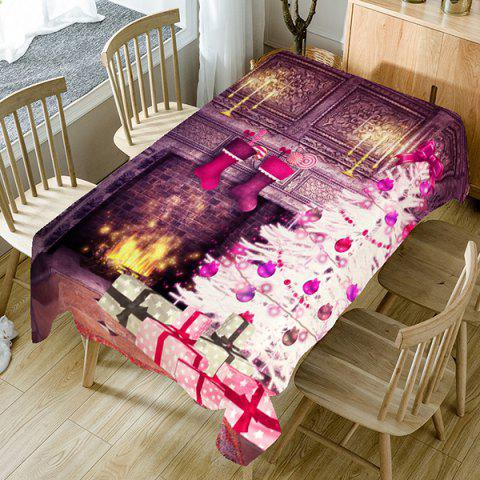 Christmas Fireplace Printed Fabric Table Cloth - COLORFUL W60 INCH * L84 INCH