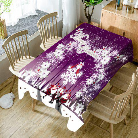 Santa Claus Snowflake Merry Christmas Printed Waterproof Table Cloth - PURPLE W60 INCH * L84 INCH