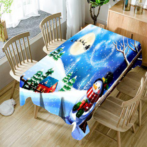 Christmas Snowscape Pattern Waterproof Fabric Table Cloth - COLORMIX W54 INCH * L72 INCH