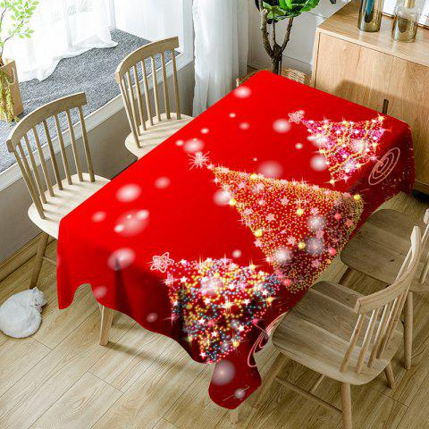 Neon Christmas Trees Pattern Waterproof Fabric Table Cloth - RED W60 INCH * L84 INCH