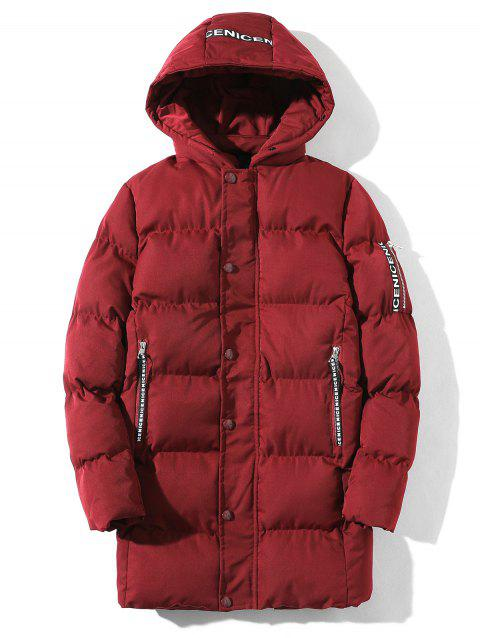 Braid Embellished Cotton Padded Zip Up Coat - RED XL