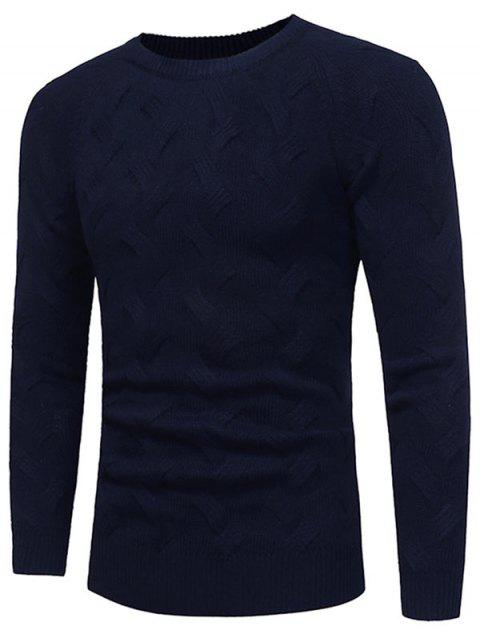Crew Neck Raglan Sleeve Pullover Sweater - PURPLISH BLUE XL