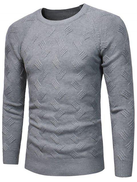 Crew Neck Raglan Sleeve Pullover Sweater - GRAY XL