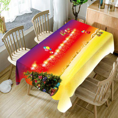 Christmas Tree Santa Sleigh Pattern Waterproof Table Cloth - COLORMIX W54 INCH * L72 INCH