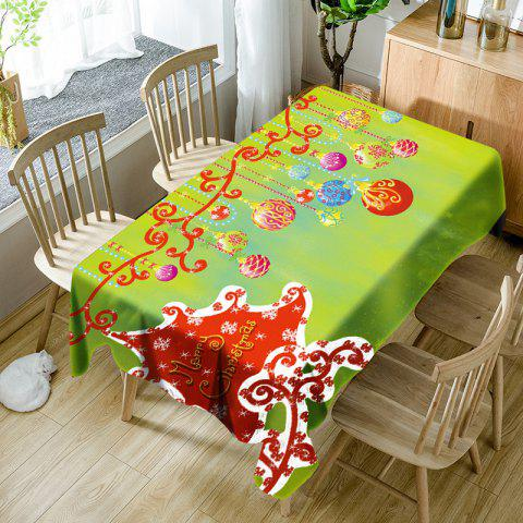 Merry Christmas Hanging Balls Printed Waterproof Table Cloth - CELADON W60 INCH * L84 INCH