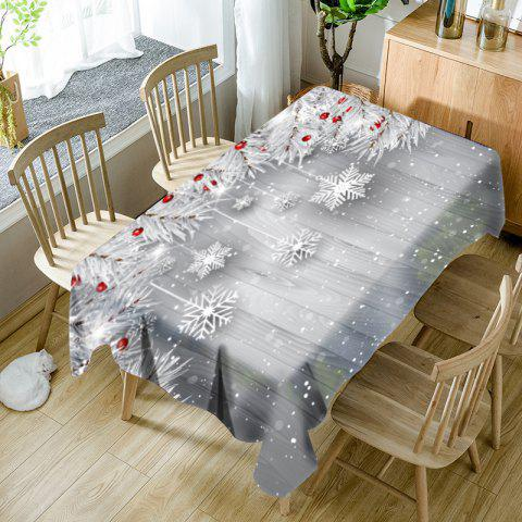 Christmas Snowflake Ornaments Pattern Waterproof Table Cloth - SILVER GRAY W54 INCH * L54 INCH