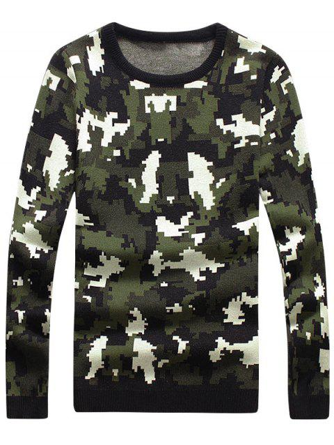 Crew Neck Mosaic Camo Pullover Sweater - GREEN XL