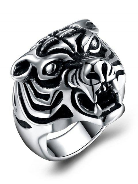 Tiger Carved Decorated Gothic Style Titanium Steel Ring - BLACK 10