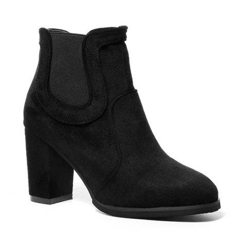 Elastic Side Panels Chunky Heel Ankle Boots - BLACK 38