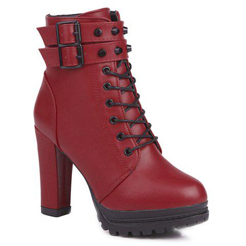 Lace Up Buckle Strap High Heel Boots - RED 39