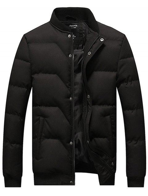 Stand Collar Zip Up Padded Jacket - BLACK 3XL