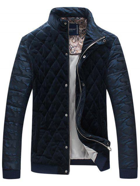 Stand Collar Camo Quilted Bomber Jacket - CADETBLUE 3XL