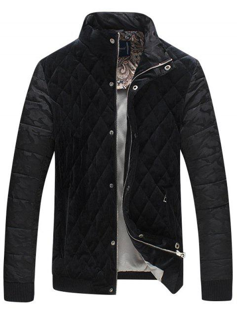 Stand Collar Camo Quilted Bomber Jacket - BLACK 5XL