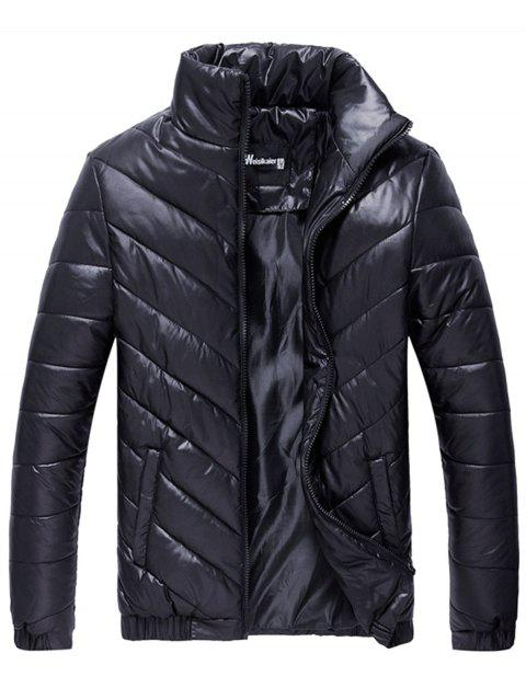 Packable Funnel Neck Down Puffer Jacket - BLACK 2XL