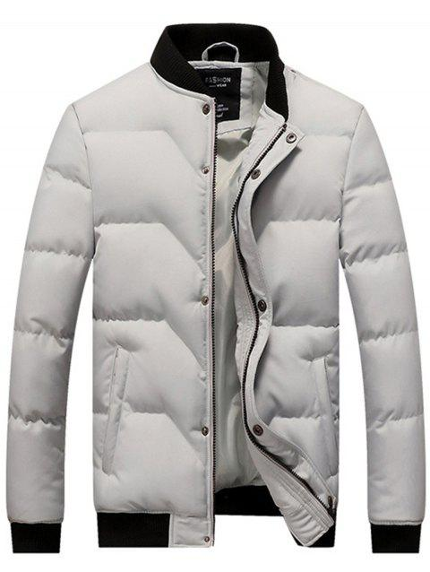 Stand Collar Zip Up Padded Jacket - GRAY XL