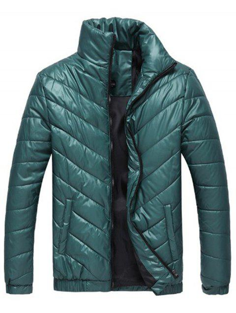 Packable Funnel Neck Down Puffer Jacket - GREEN L