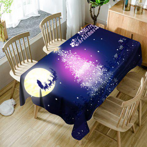 Moon Sled Sparkling Christmas Tree Print Waterproof Table Cloth - BLUE W60 INCH * L84 INCH
