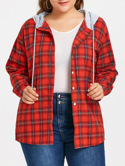 Plus Size Hooded Plaid Drop Shoulder Shirt - RED 2XL