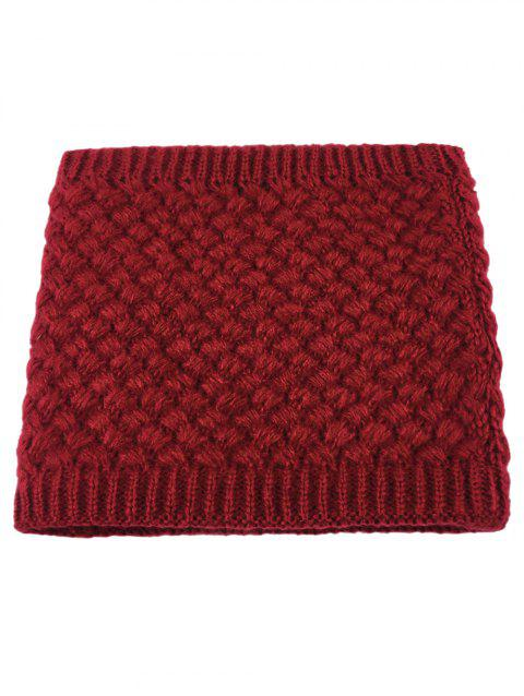 Outdoor Corn Shape Pattern Crochet Knitted Infinity Loop Scarf - WINE RED