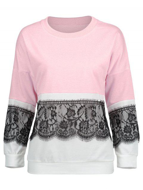 Eyelash Lace Panel Color Block Sweatshirt - PINK XL