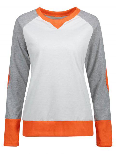 Slim Fit Color Block Sweatshirt - ORANGE M