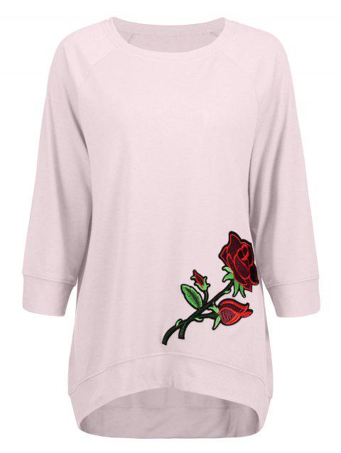 Long High Low Embroidery Sweatshirt - PINK 2XL