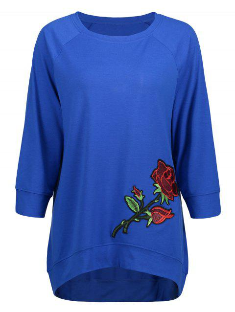 Long High Low Embroidery Sweatshirt - BLUE M