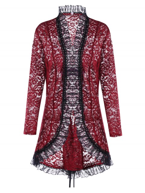 Lace Up Plus Size Gothic Lace Cardigan - WINE RED 4XL