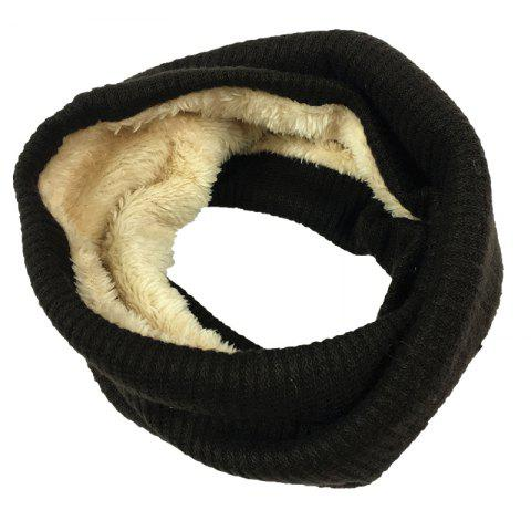 Striped Pattern Thicken Velvet Knitted Infinity Loop Scarf - BLACK